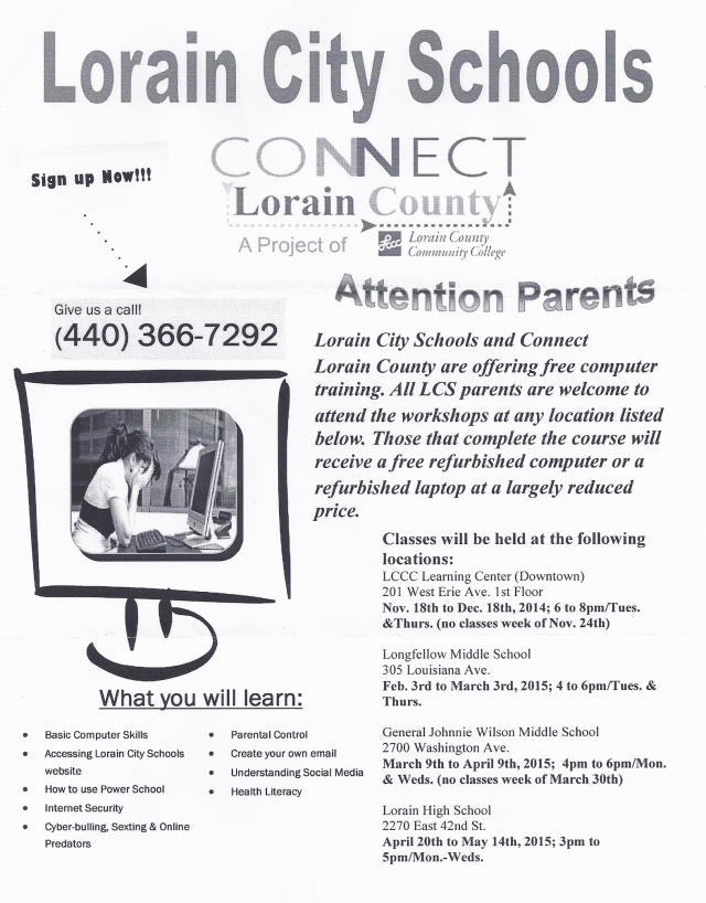 Flyer for LCCC Computer Classes - 2014