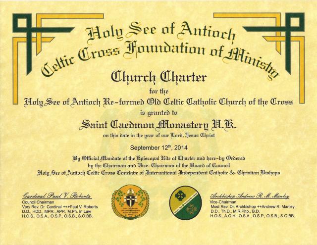 HSACCFM - Church Charter - St Caedmon Monastery UK - 2014
